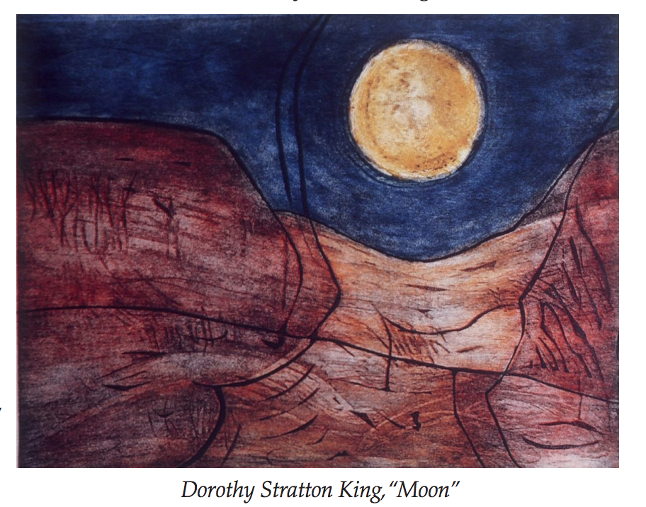 Dorothy Stratton King, print, artist, female artist, emerging from the shadows book, moon image